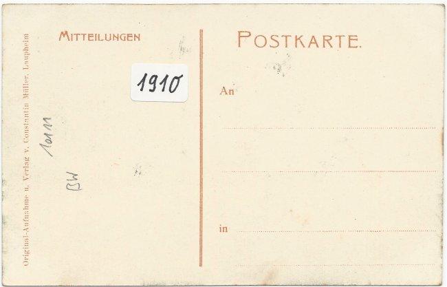 Laupheim von Westen (Rückseite der Ansichtskarte)