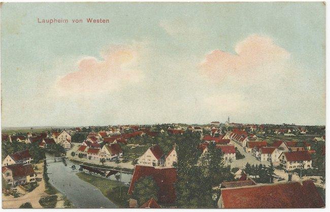 Laupheim von Westen (Vorderseite der Ansichtskarte)