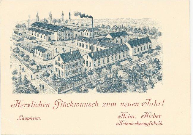 Heinr. Hieber Holzwerkzeugfabrik (Vorderseite der Ansichtskarte)