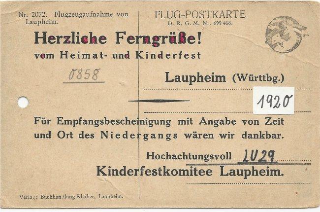 Flugzeugaufnahme von Laupheim (Rückseite der Ansichtskarte)