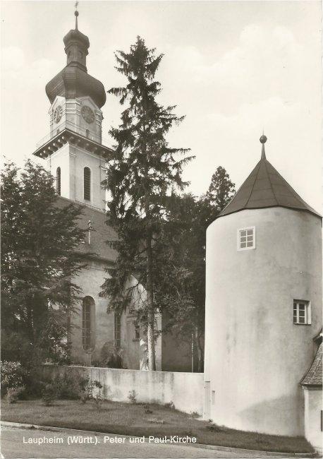 Laupheim (Württ.), Peter und Paul-Kirche (Vorderseite der Ansichtskarte)
