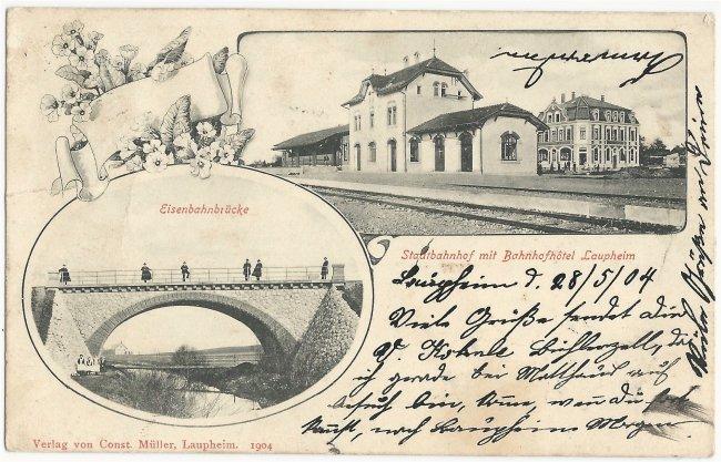 Stadtbahnhof mit Bahnhofhotel Eisenbahnbrücke (Vorderseite der Ansichtskarte)
