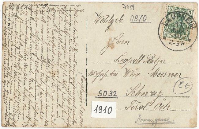 Kegel-Klub / Kat. Gesellv. (Rückseite der Ansichtskarte)