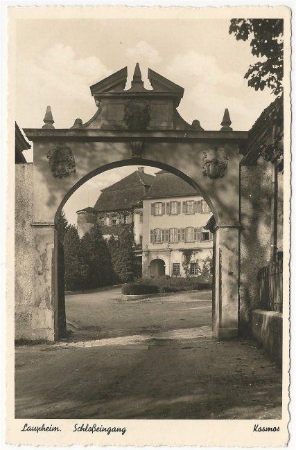 Laupheim. Schloßeingang (Vorderseite der Ansichtskarte)