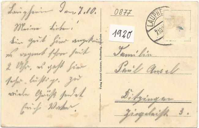 Laupheim Hotel Post (Rückseite der Ansichtskarte)