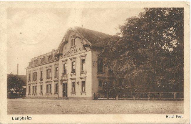 Laupheim Hotel Post (Vorderseite der Ansichtskarte)