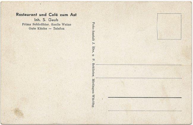 Restaurant und Café zum Ast (Rückseite der Ansichtskarte)