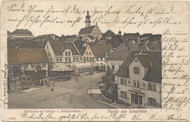 Partie aus Laupheim. Marktplatz mit Schloss u. Stadtpfarrkirche (Vorderseite der Ansichtskarte)