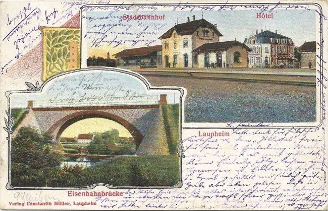 Laupheim, Stadtbahnhof, Eisenbahnbrücke (Vorderseite der Ansichtskarte)