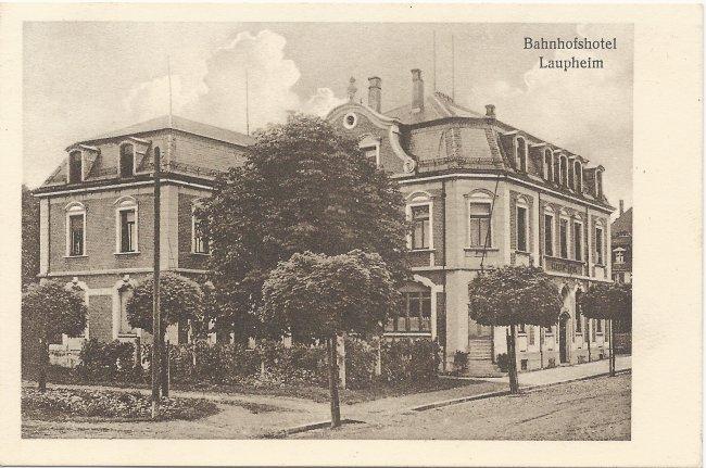Bahnhofshotel Laupheim (Vorderseite der Ansichtskarte)