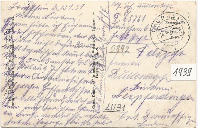 Laupheim vom Flugzeug aus - Kapellenzipfel (Rückseite der Ansichtskarte)