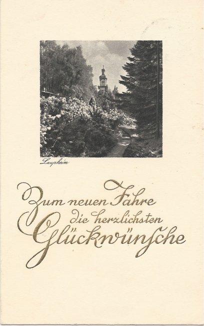 Laupheim - Zum neuen Jahre die herzlichsten Gückwünsche (Vorderseite der Ansichtskarte)