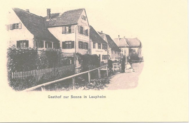 Gasthof zur Sonne in Laupheim (Vorderseite der Ansichtskarte)