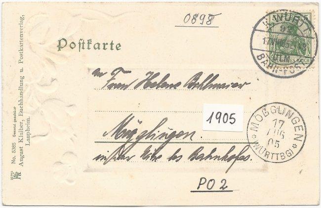 Laupheim Kgl. Postamt (Rückseite der Ansichtskarte)