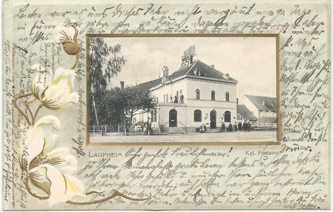 Laupheim Kgl. Postamt (Vorderseite der Ansichtskarte)