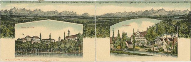 Schloss Großlaupheim und Schloss Kleinlaupheim vor Alpenpanorama (Vorderseite der Ansichtskarte)