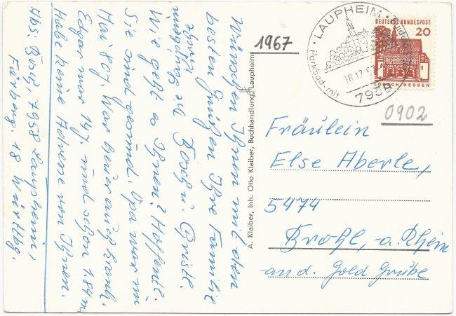 Glückwunschkarte Schloss Grosslaupheim Peter u. Paul-Kirche (Rückseite der Ansichtskarte)