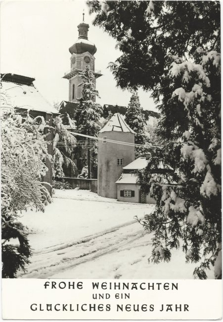 Glückwunschkarte Schloss Grosslaupheim Peter u. Paul-Kirche (Vorderseite der Ansichtskarte)