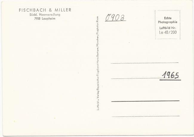 Firma Fischbach und Miller (Rückseite der Ansichtskarte)