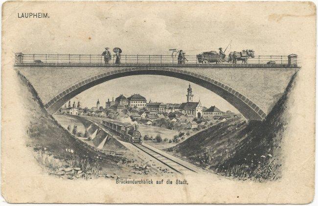 Laupheim / Brückendurchblick auf die Stadt (Vorderseite der Ansichtskarte)
