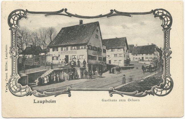 Laupheim Gasthaus zum Ochsen (Vorderseite der Ansichtskarte)