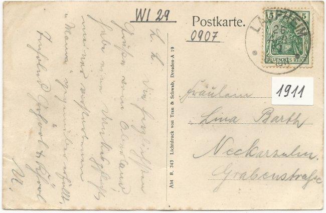 Gasthof zum Schwanen (Rückseite der Ansichtskarte)