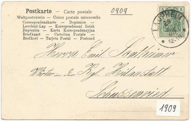 Gruss aus Laupheim Bezirkskrankenhaus (Rückseite der Ansichtskarte)