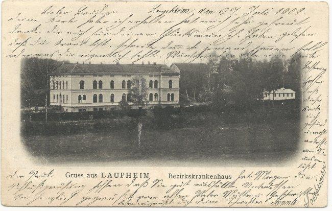 Gruss aus Laupheim Bezirkskrankenhaus (Vorderseite der Ansichtskarte)