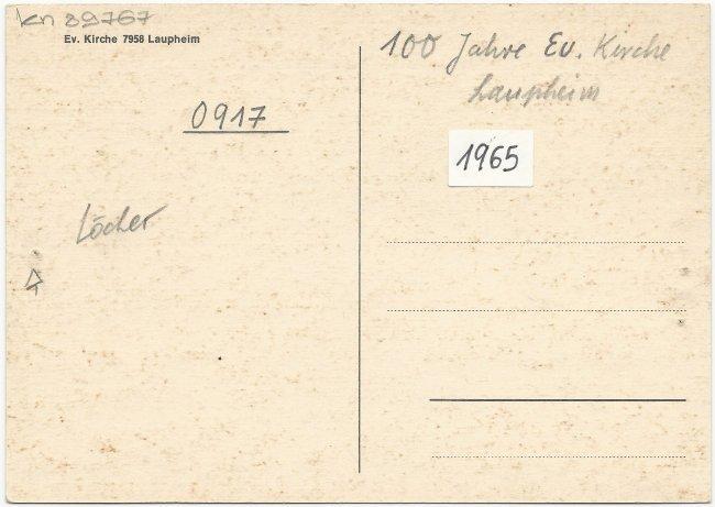 Ev. Kirche 7958 Laupheim (Rückseite der Ansichtskarte)
