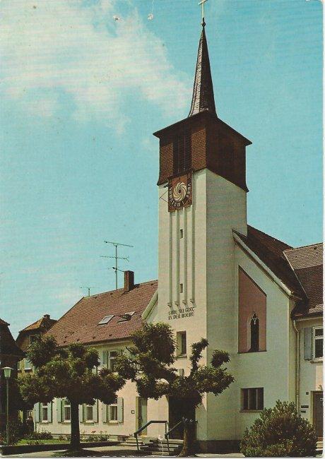 Ev. Kirche 7958 Laupheim (Vorderseite der Ansichtskarte)
