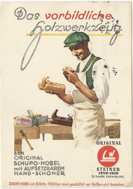 Künstler-Werbekarte der Laupheimer Werkzeugfabrik (LW) (Vorderseite der Ansichtskarte)