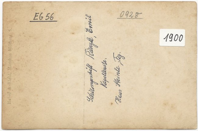 Schirmgeschäft E. Kienzle (Rückseite der Ansichtskarte)