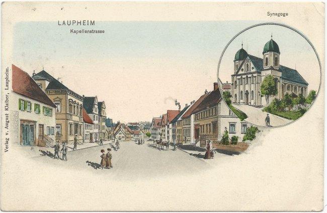 Laupheim  Kapellenstraße, Synagoge  (Vorderseite der Ansichtskarte)