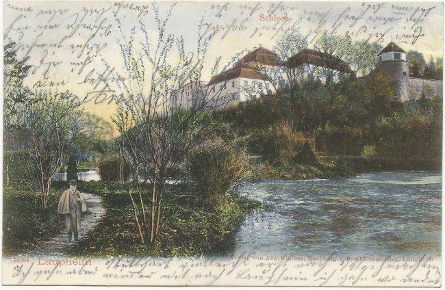 Laupheim  Schloss (Vorderseite der Ansichtskarte)
