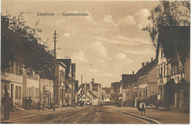 Laupheim - Kapellenstraße (Vorderseite der Ansichtskarte)