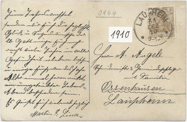 Laupheim - Geschäft Sattler u. Tapezierer (Rückseite der Ansichtskarte)