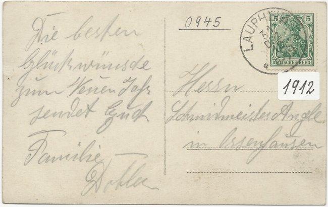 Bauernhaus der Familie Dobler Laupheim (Rückseite der Ansichtskarte)