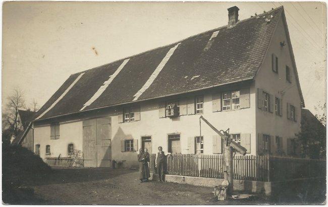 Bauernhaus der Familie Dobler Laupheim (Vorderseite der Ansichtskarte)