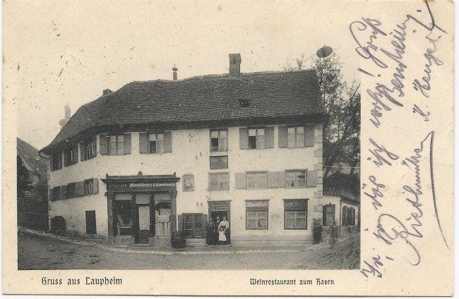 Gruss aus Laupheim  Weinrestaurant zum Hasen (Vorderseite der Ansichtskarte)