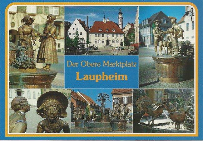 Der Obere Marktplatz Laupheim (Vorderseite der Ansichtskarte)