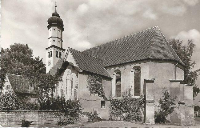 Laupheim . Friedhofskapelle (Vorderseite der Ansichtskarte)