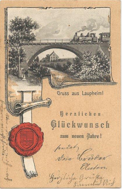 Gruß aus Laupheim (Vorderseite der Ansichtskarte)