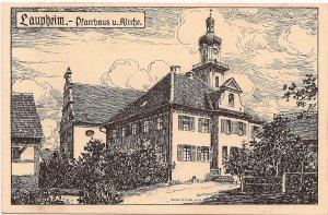 Laupheim. - Pfarrhaus u. Kirche.