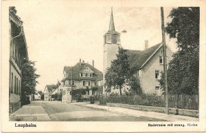 Laupheim Radstraße mit evang. Kirche