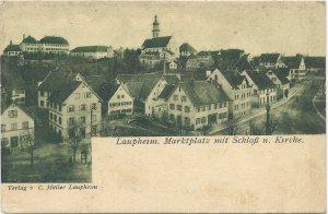 Laupheim. Marktplatz mit Schloß u. Kirche