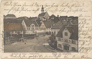 Partie aus Laupheim. Marktplatz mit Schloss u. Stadtpfarrkirche